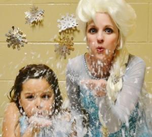 Elsa blowing snow